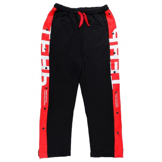 Black Sweatpants with Red Stripes